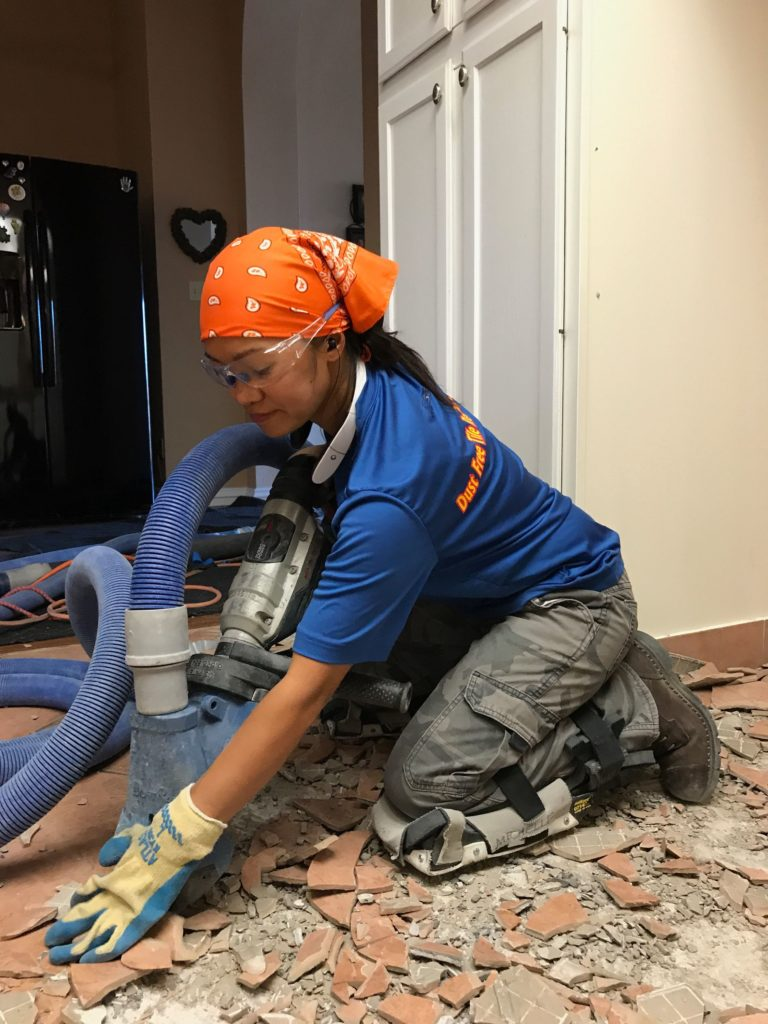 removing tile dust free